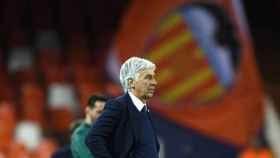 Gasperini, durante el Valencia - Atalanta de la Champions League