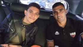 José Antonio Reyes, junto a su hijo en el último partido de fútbol que jugó en su vida