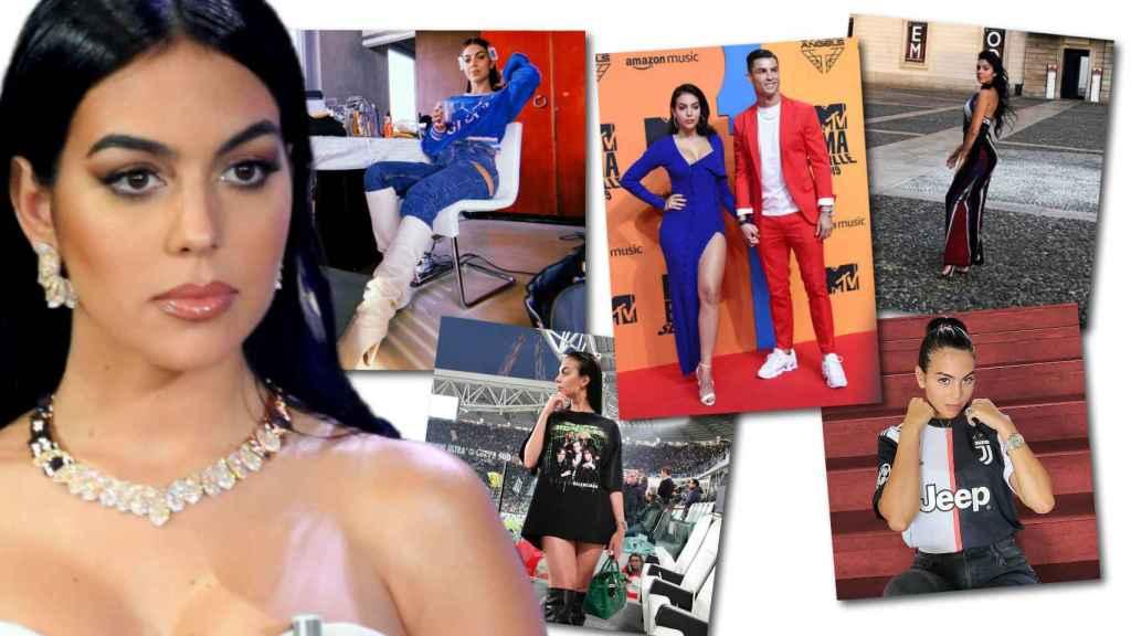 Georgina Rodríguez con sus cinco prendas subastadas, en un montaje de Jaleos.