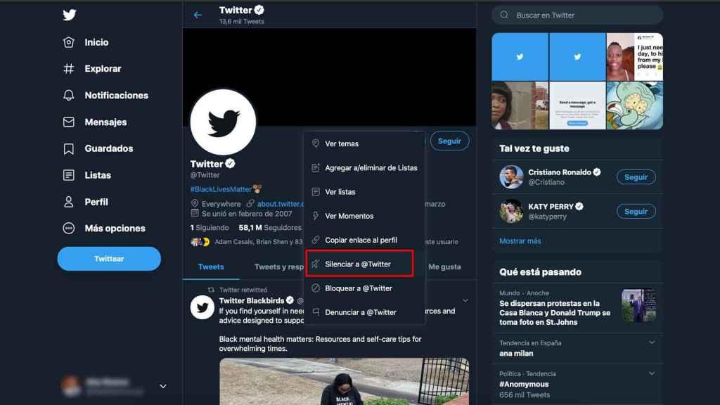Silenciar a un usuario en Twitter.