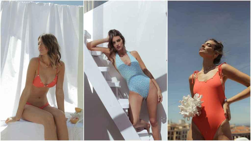 Susana Molina con diferentes modelos de su colección de bañadores.
