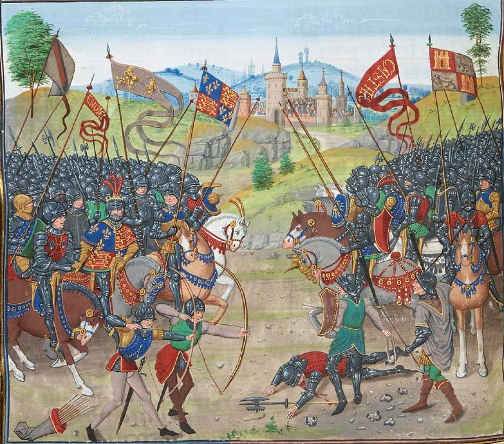 Ilustración de la batalla de Nájera en un manuscrito del siglo XV.