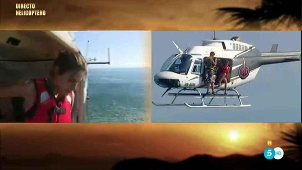La concursante estaba deseando saltar del helicóptero.