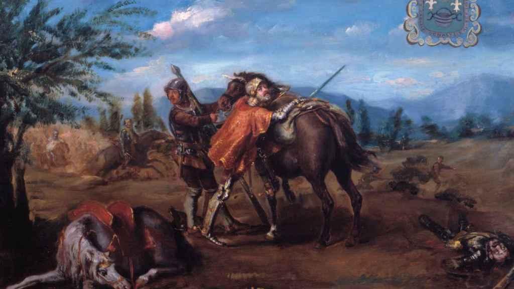 Lienzo de Juan Ángel Saéz que representa al derrotado Enrique de Trastámara huyendo del campo de batalla.