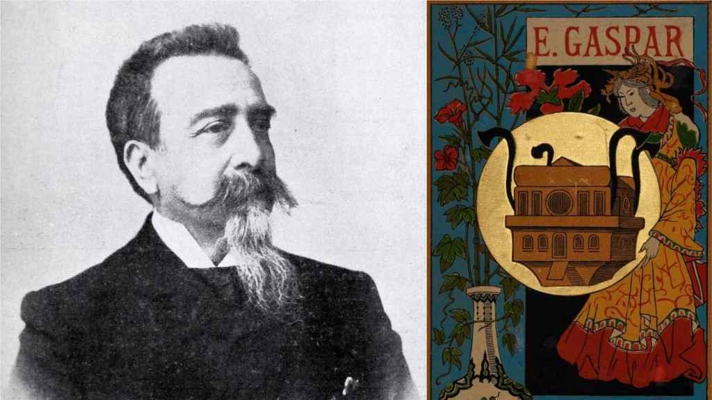 Enrique Gaspar, autor de 'El Anacronópete', y la portada de su novela.