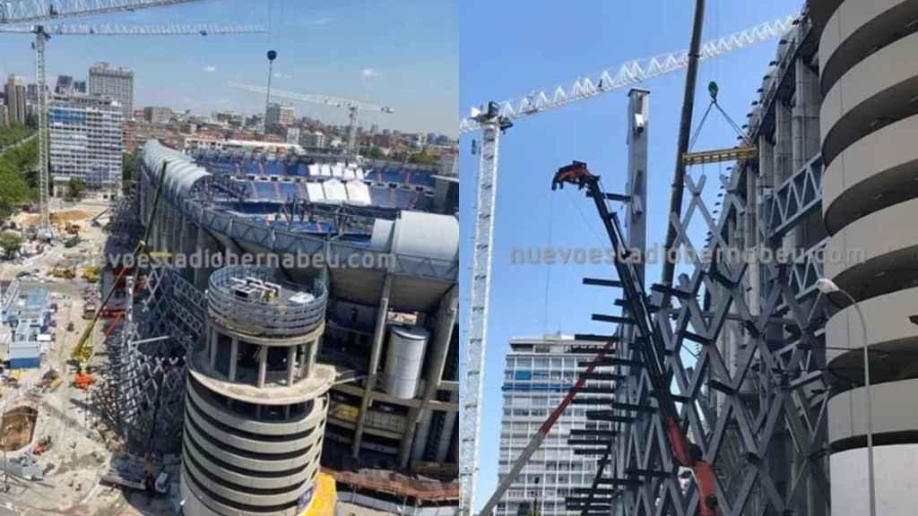 El avance de la construcción de las nuevas torres del Santiago Bernabéu