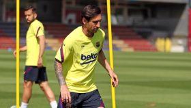 Leo Messi, en uno de los entrenamientos de esta semana