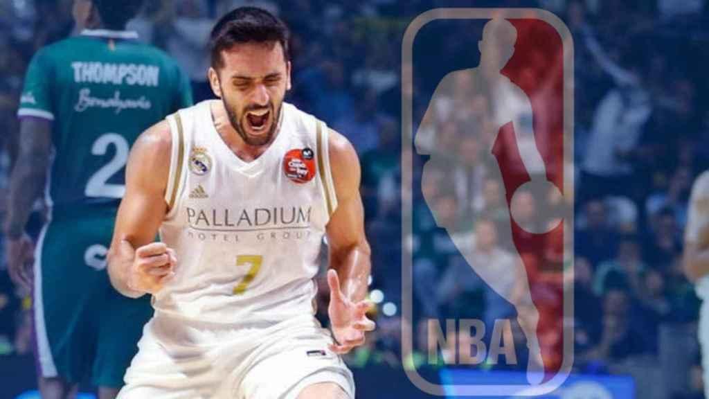 Facundo Campazzo y el logo de la NBA