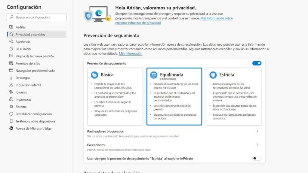 El nuevo Edge incluye protecciones contra el rastreo en Internet