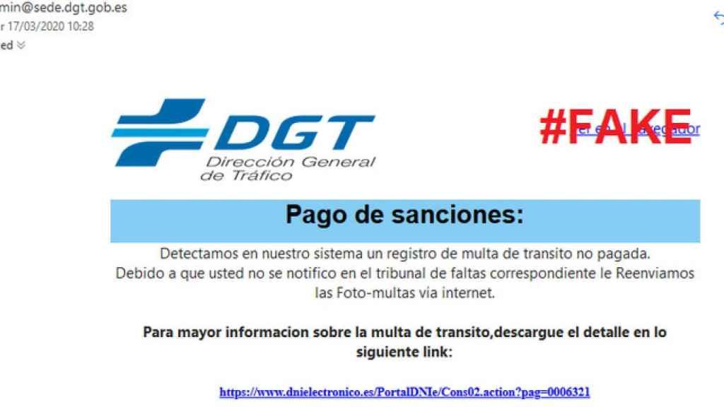 La DGT avisa de una campaña de phishing con multas falsas