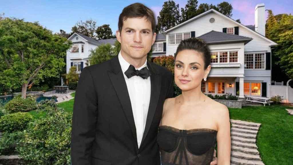 Ashton Kutcher y Mila Kunis en un montaje de JALEOS frente a la casa que han puesto a la venta.