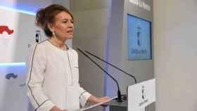 La consejera de Bienestar Social de Castilla-La Mancha, Aurelia Sánchez, en rueda de prensa
