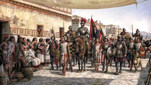 La entrada de Hernán Cortés en México.