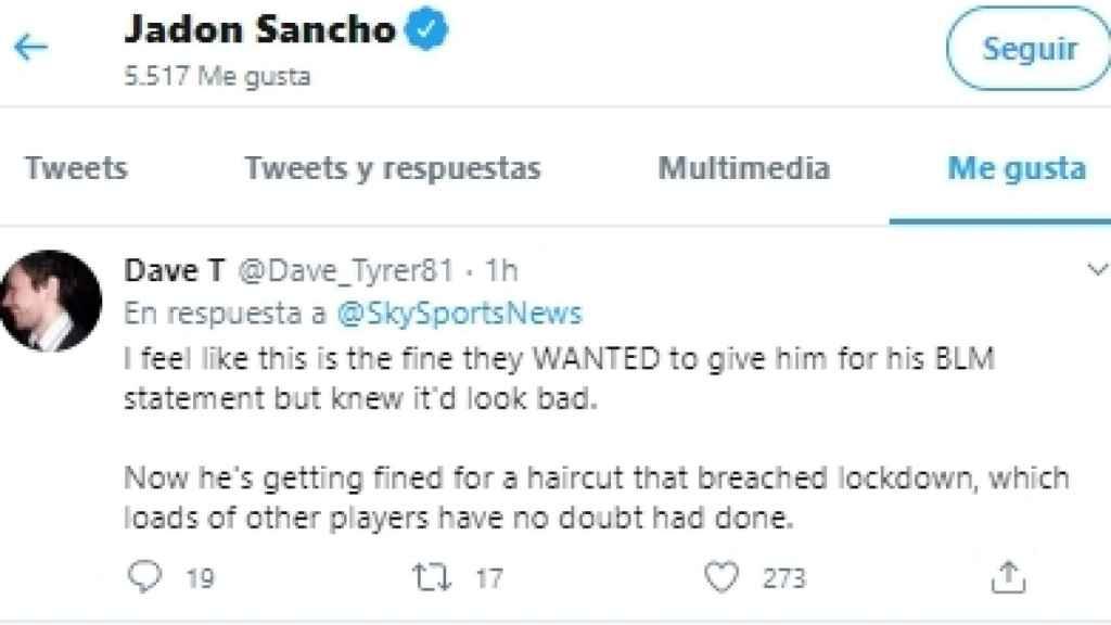 El 'me gusta' de Jadon Sancho en el que relata lo que opina sobre la sanción