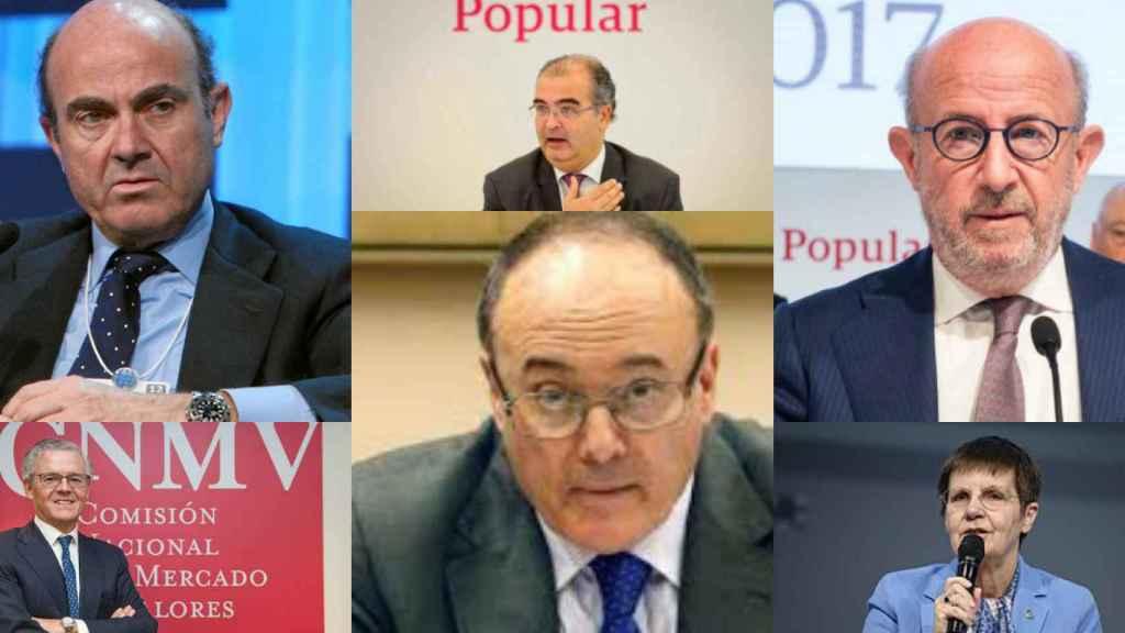Luis de Guindos, Ángel Ron, Emilio Saracho, Sebastián Albella, Luis María Linde y Elke König.