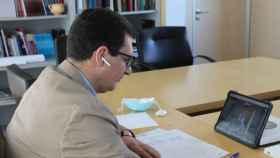 Javier Úbeda durante la videoconferencia
