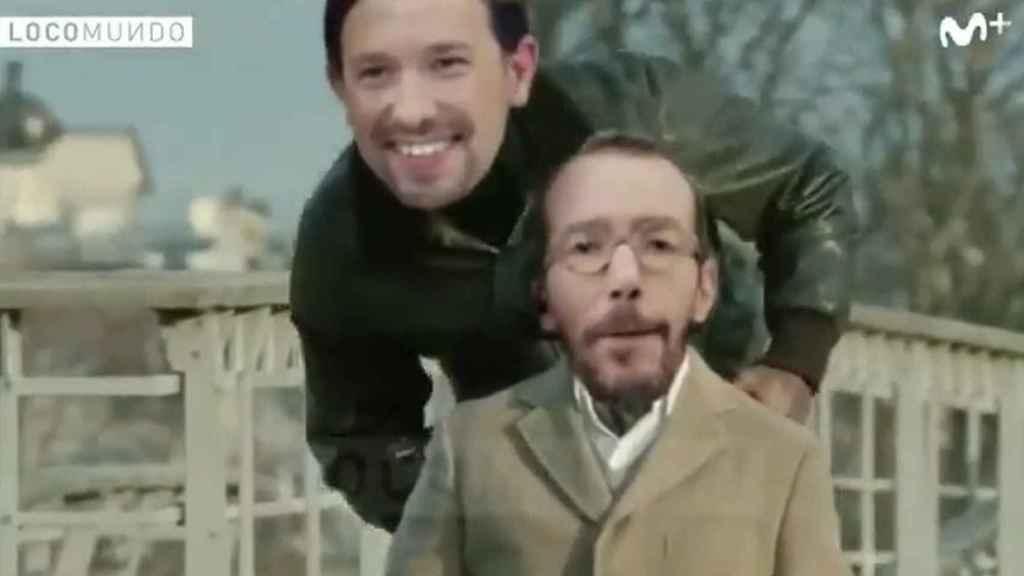 Pablo Iglesias y Echenique en el montaje para Movistar+