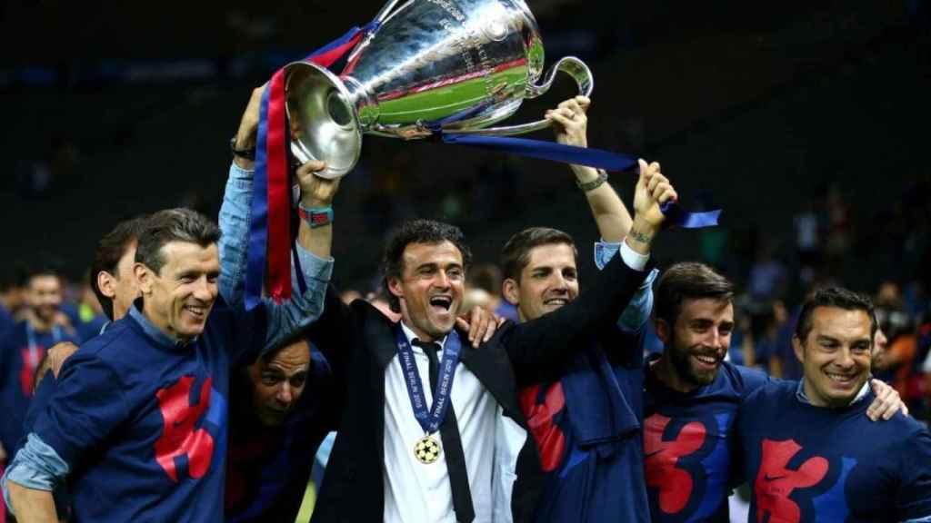 Luis Enrique celebra la Champions que ganó con el Barça en 2015
