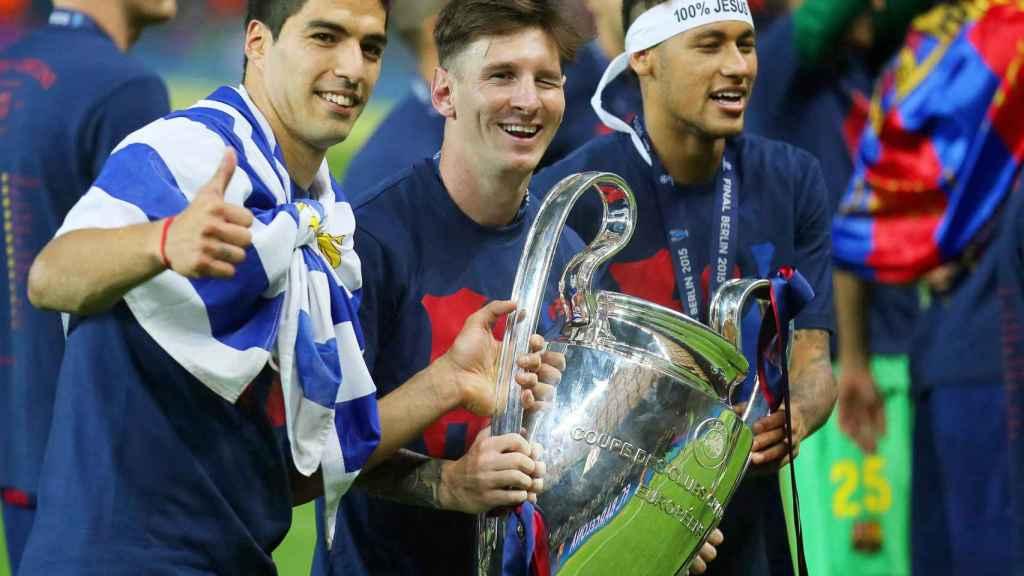 Suárez, Messi y Neymar celebrando la Champions que ganó el Barça en 2015
