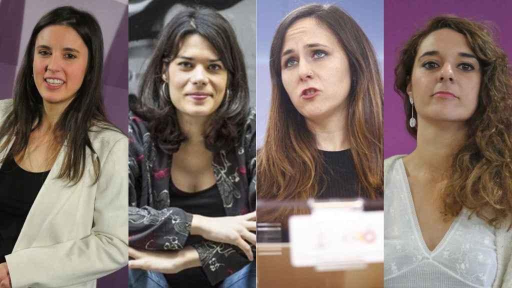 Irene Montero, Isa Serra, Ione Belarra y Noelia Vera, la nueva 'Banda de las cuatro' con el poder en Podemos.