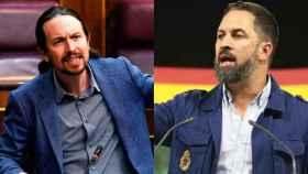 El vicepresidente segundo y secretario general de Podemos, Pablo Iglesias, y el líder de Vox, Santiago Abascal.