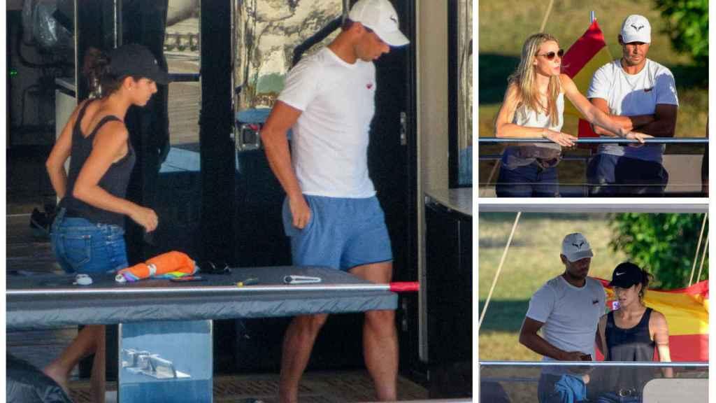 Varios momentos de Rafa, su mujer y la familia del tenista sobre el catamarán.