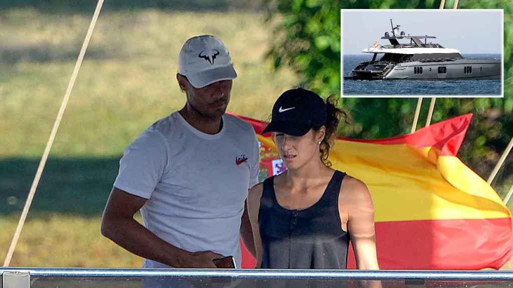 Rafa Nadal y Xisca Perelló junto a su catamarán en montaje de JALEOS.