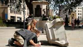 Lo que ha quedado de la estatua de Edward Colston en Bristol: la base.