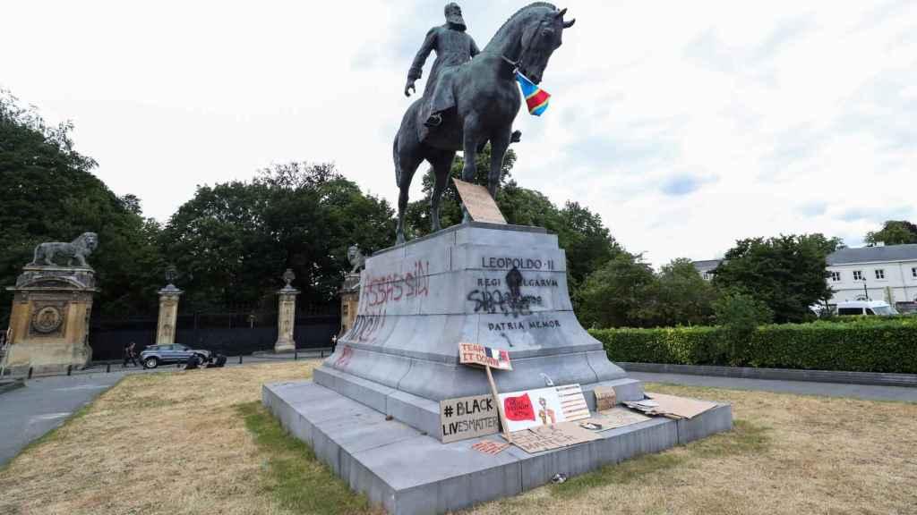 La estatua de Leopoldo II en Bruselas.