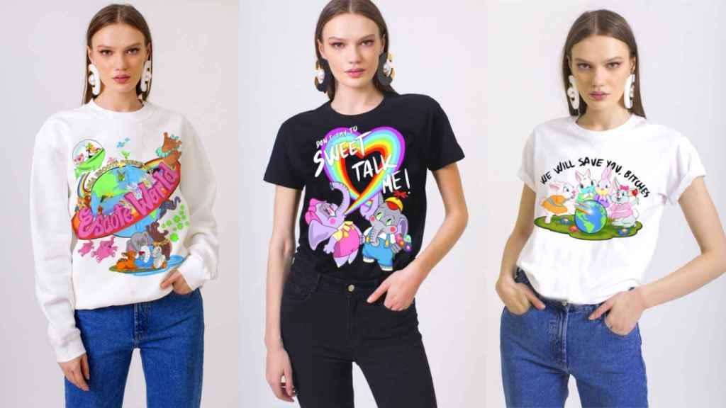 Tres prendas de la nueva colección de María Escoté en colaboración con Amanda Portillo.