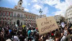 Manifestación por George Floyd en la Puerta del Sol de Madrid.
