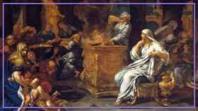 Las vírgenes vestales guardando el fuego eterno. Un cuadro de Ciro Ferri, conservado en la Galleria Spada.