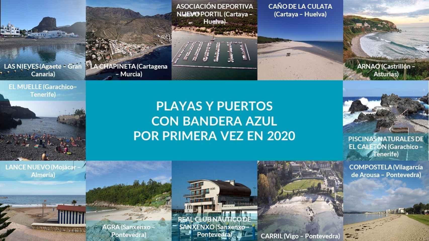 Playas y puertos con bandera azul por primera vez este 2020.