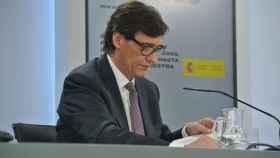 Salvador Illa, ministro de Sanidad, en la rueda de prensa de Moncloa.