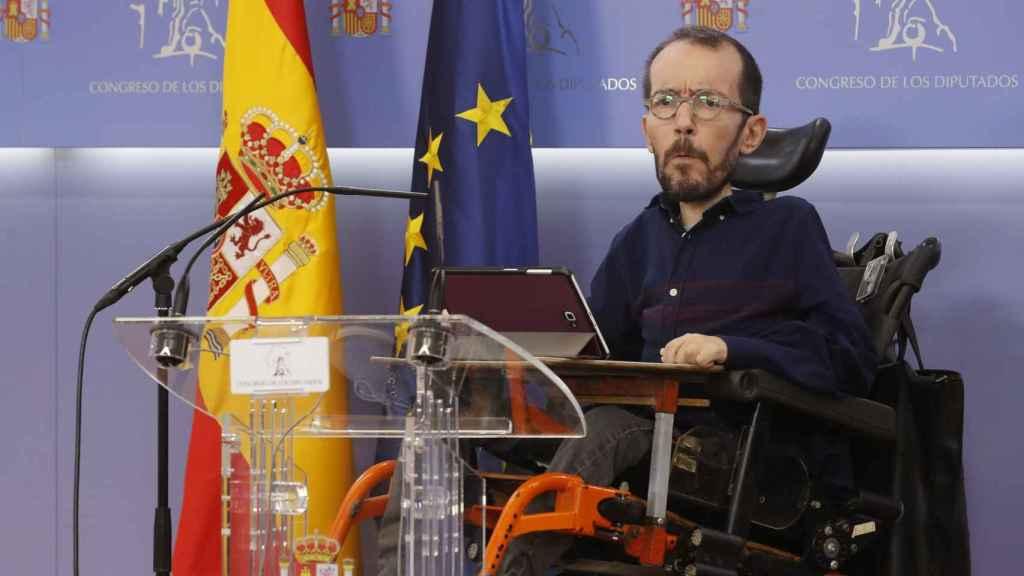 Pablo Echenique, en la rueda de prensa posterior a la Junta de Portavoces.
