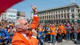 Antonio Pappalardo, líder de los chalecos naranjas en una protesta en Turín