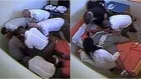 Fotogramas extraídos de la grabación realizada por las cámaras de la habitación de la víctima.