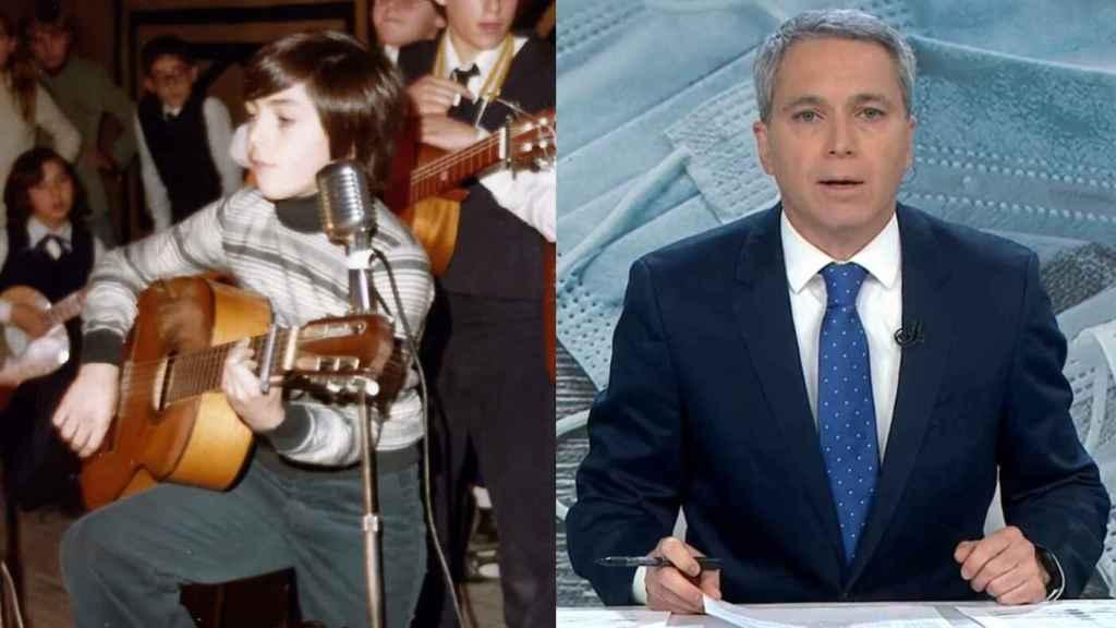 Vicente Vallés, de niño, cantando frente al coro.
