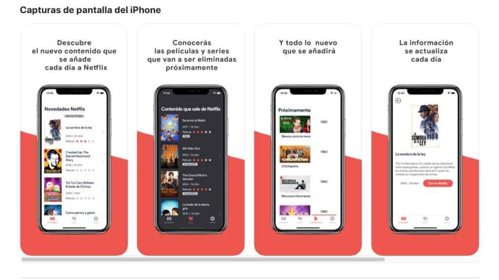 Interfaz de la app New on Flix.