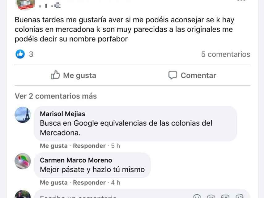 Una usuaria pregunta sobre las colonias de Mercadona.