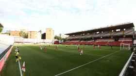Las gradas del Estadio de Vallecas vacías durante el encuentro