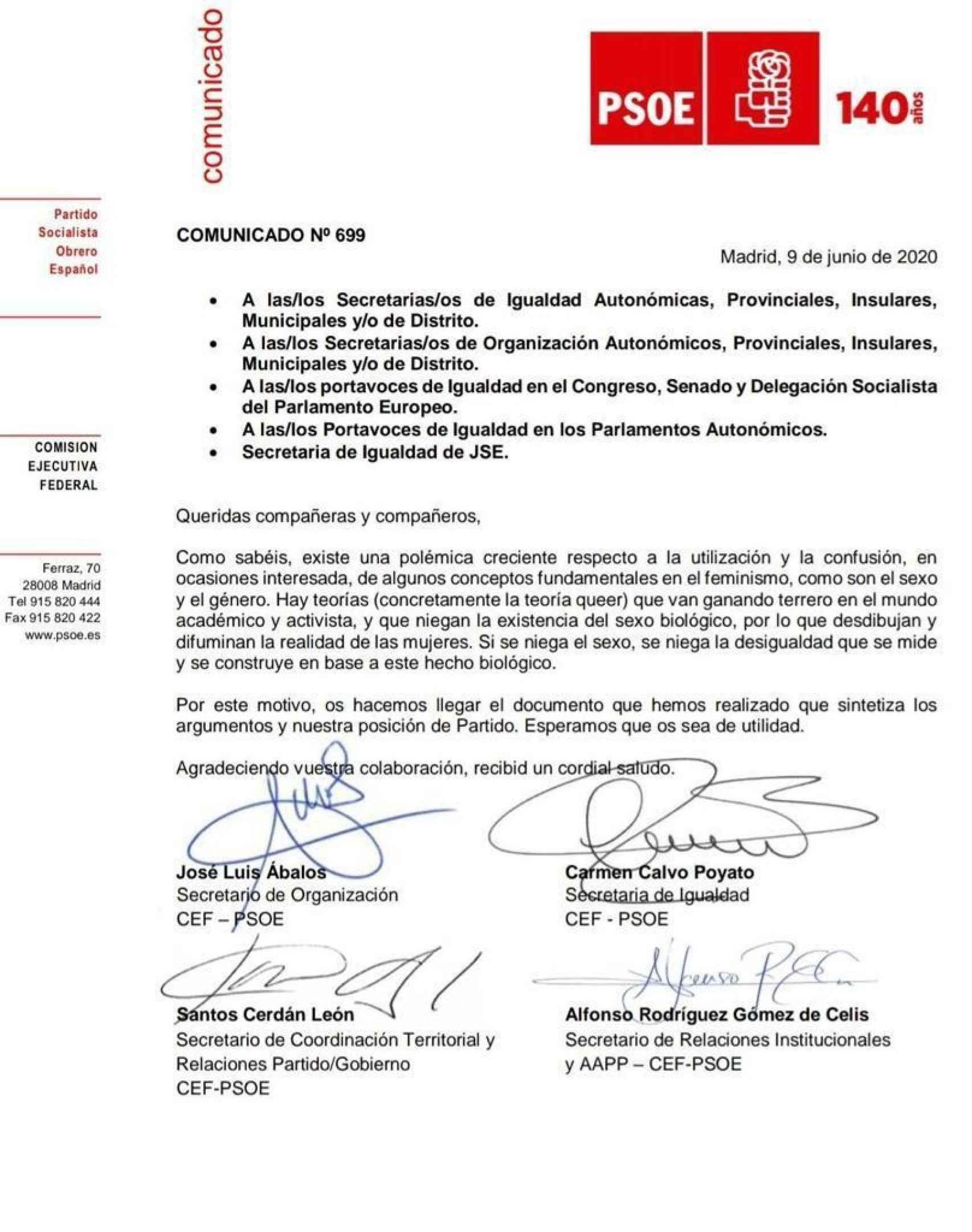 La Ejecutiva del PSOE emite este comunicado el día que el Gobierno aprueba la Ley de la Infancia.