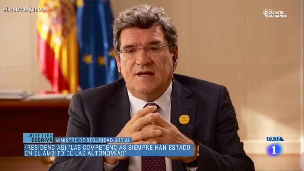 José Luis Escrivá en un momento de su intervención en los Desayunos de TVE.