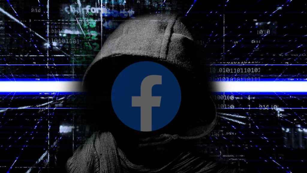 Montaje de un hacker con el logotipo de Facebook.
