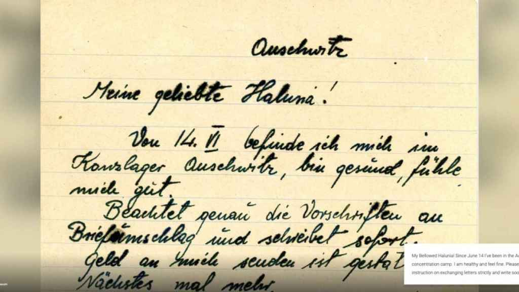 Una de las cartas de Korczowski, explicada virtualmente.