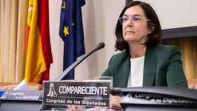 Cani Fernández, candidata a presidir la CNMC, durante su intervención de este jueves ante la Comisión de Asuntos Económicos del Congreso.