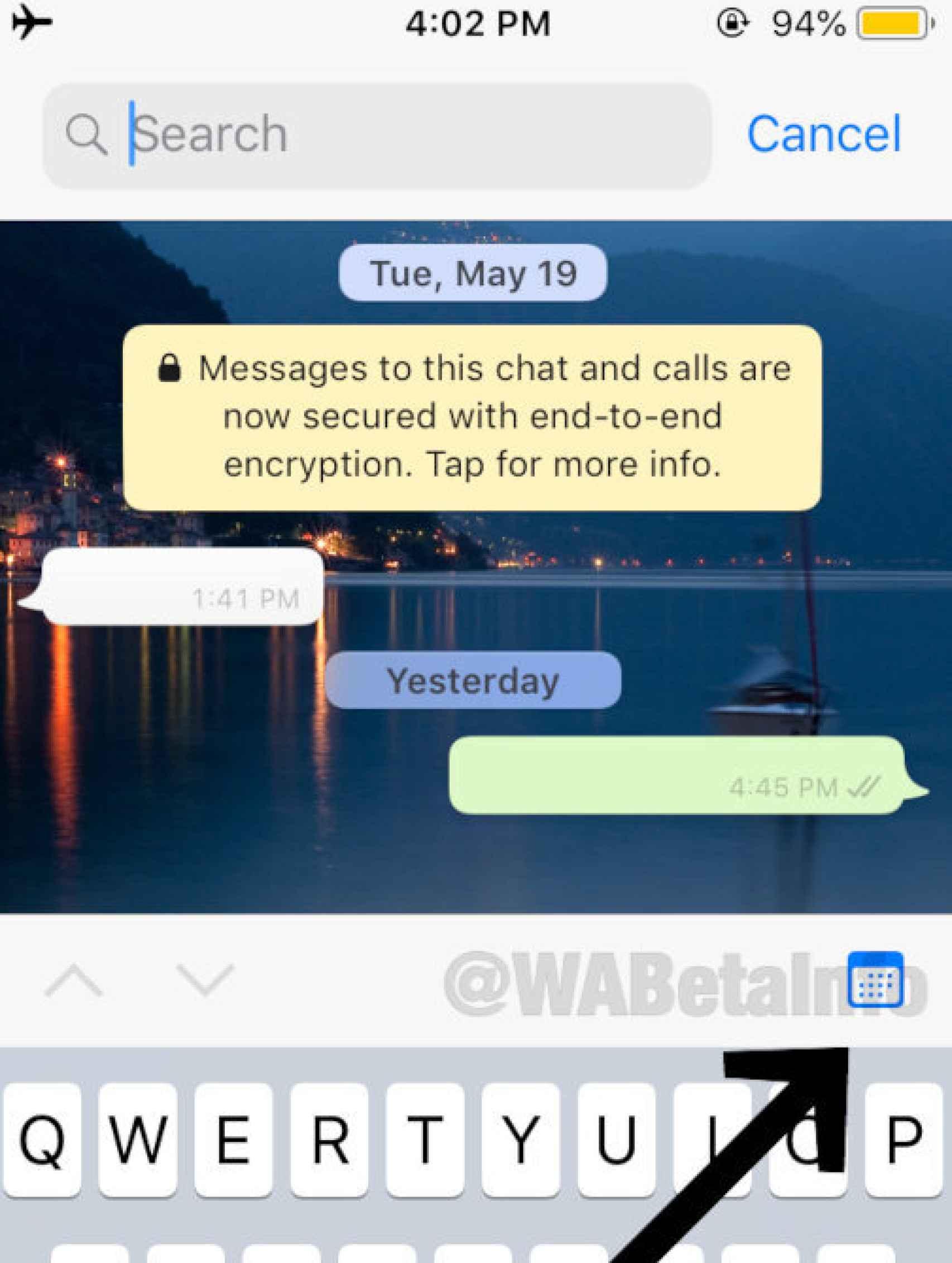 El nuevo icono de búsqueda en WhatsApp