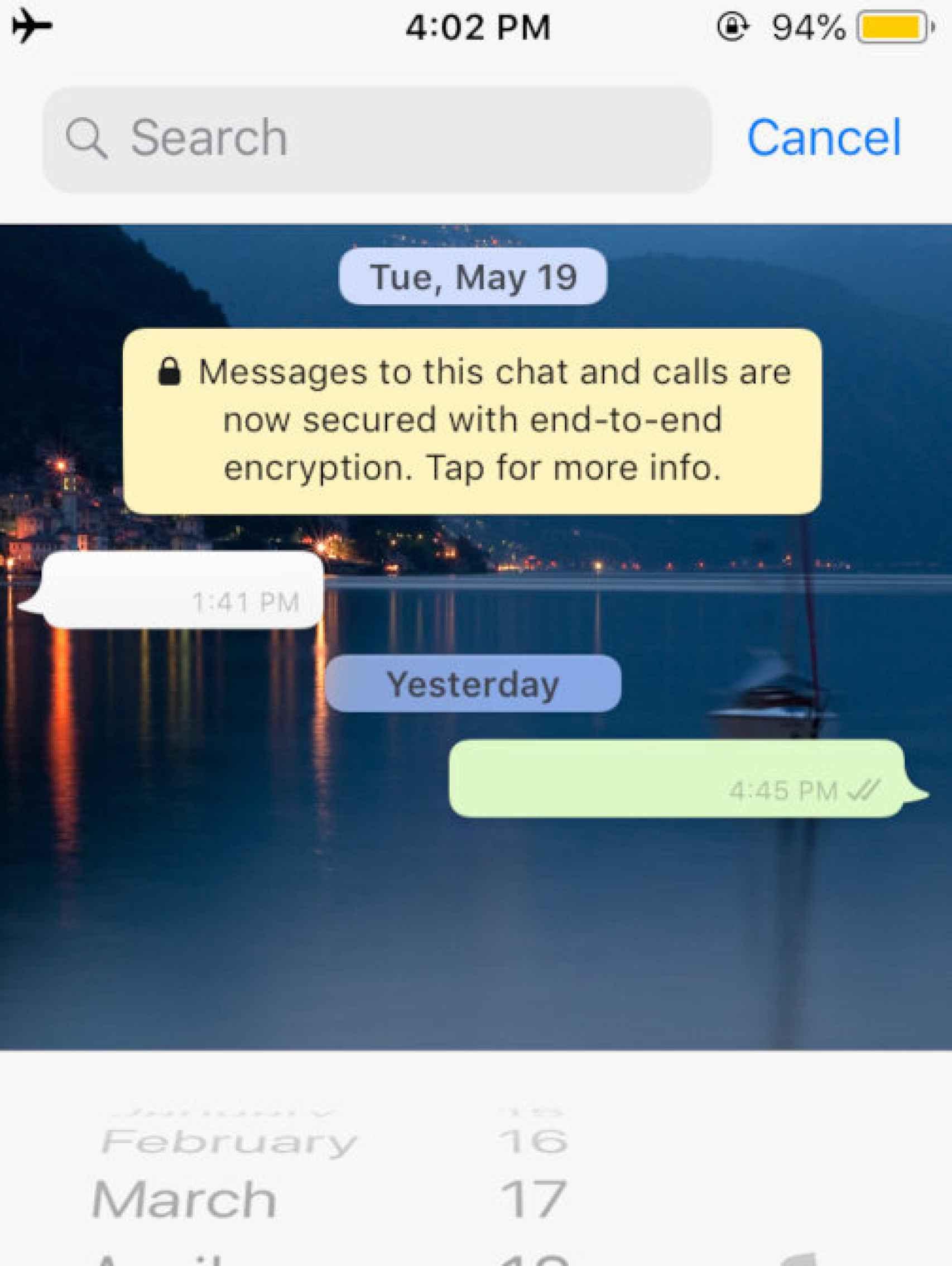 La nueva búsqueda de mensajes por fecha de WhatsApp
