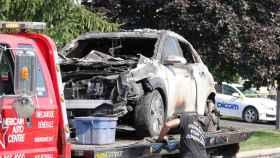 El estado en el que quedó uno de los Hyundai eléctricos incendiados