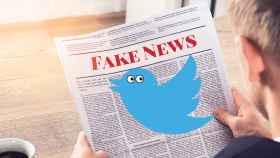 Fotomontaje con el logo de Twitter y las 'fake news'